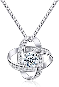 CAT EYE JEWELS Sterling Silver Diamond Pendant Necklace (20 Collections Option)