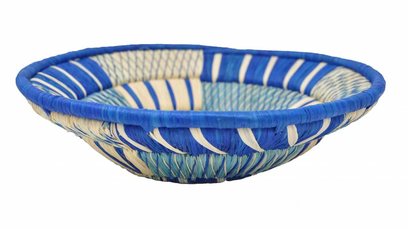 Raffia basket - Diameter 25-26 cm - Turquoise - Uganda - Handmade Artisanal