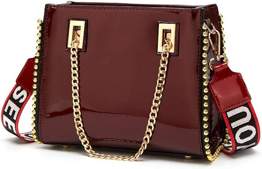 Rebily Tracolla in Pelle Borsa Luminosa Europei e Americani in Pelle Verniciata Platinum Bag Nuove Donne Sacchetto Femminile Messenger Bag (Color : Bianca) Marrone