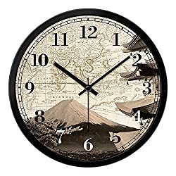 Znzbzt Simple Creative Mute Wall Clock Creative Living Room Mute 14-inch World Time Zone Wall Clock Japanese Fuji Hotel, The Lobby Front Desk Quartz Clock,c/3030cm