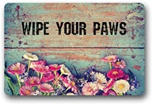 """MEIDU MDadorn Wipes Your Paws Retro Grunge Floral Rubber Door Mat Indoor Outdoor Floor Mats for Entryway 15.7"""" x 23.6"""" Garden Rug Waterproof Felt Non-Slip Entrance Doormat with Rubber Backing"""