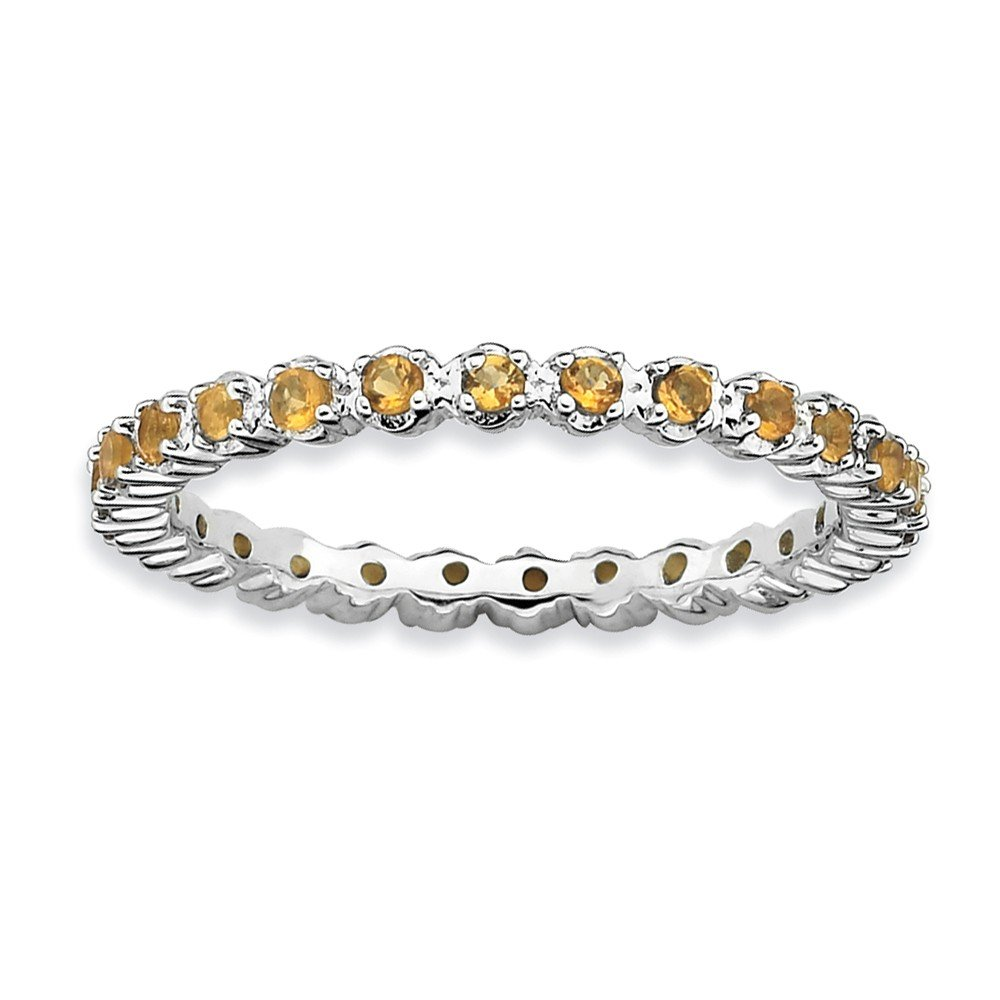 2.25mm Silver Stackable Citrine Band, Size 5 by Stackable Expressions