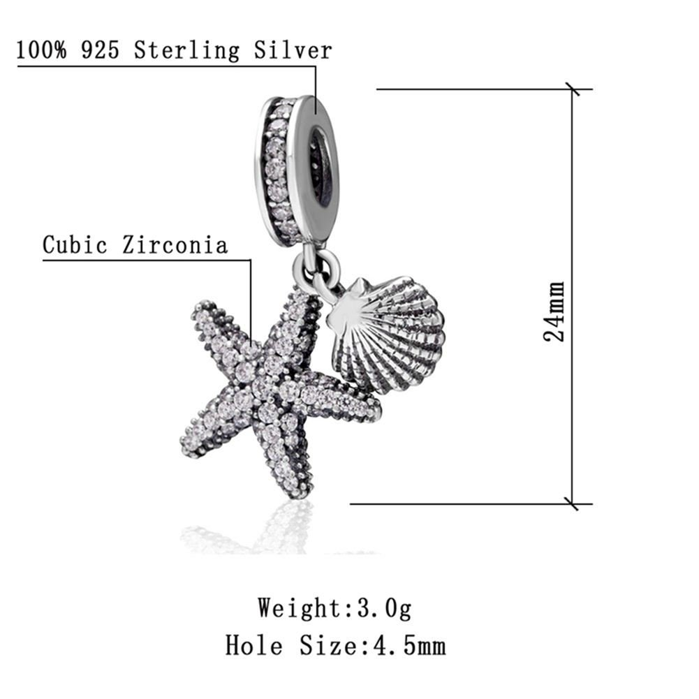 Choruslove Tropical Starfish and Sea Shell Dangle Charms Clear CZ Pave Beads for 3mm Bracelet Sanlinks LG