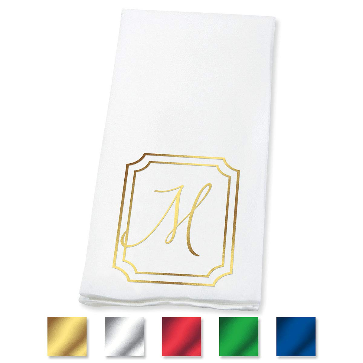 Lillian Vernon Frame Personalized Monogram Linen-Like Hand Towels (Set of 100)- 50% Cotton 50% Paper Blend, 13'' by 17'' Open and 4 1/2'' by 8 1/2'' Closed, Choose from 5 Colors, Weddings, Dinner Parties
