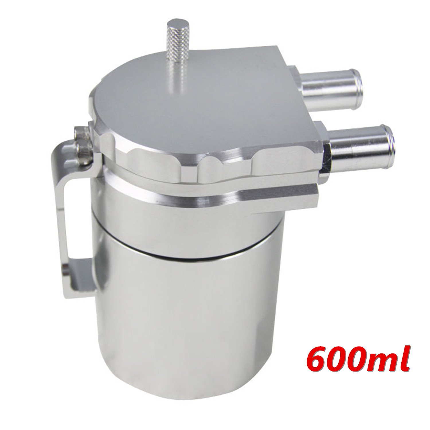 Primecooling Baffled Universal T6061 Alloy Aluminum Oil Catch Can Reservoir Tank (Silver) Prime Cooling