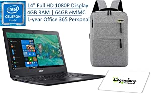 Acer 2020 Aspire 1 14 Inch FHD 1080P Laptop, Intel Celeron Dual-Core N4000, 4GB DDR4, 64GB eMMC, Office 365 Personal 1-Year Included, Windows 10 S W/ Legendary Computer Backpack & Mouse Pad Bundle