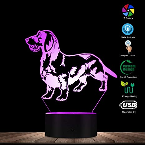 Animal dog 3D Lamp LED Night light Acrylic Touch Birthday Child Gifts 7 Color