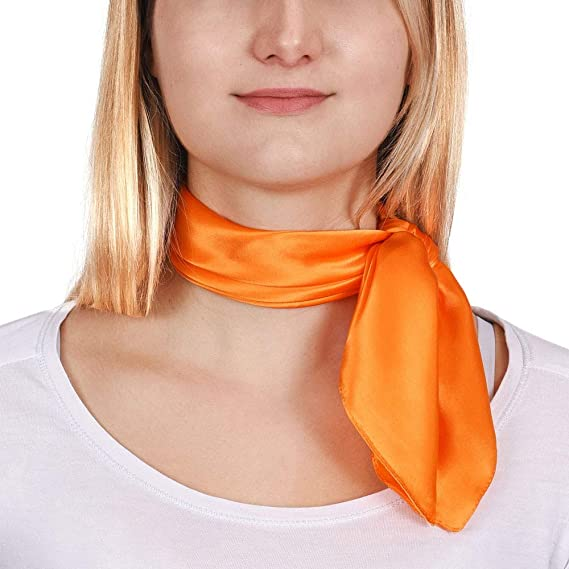 Allée du foulard Carré de soie Piccolo ORANGE uni - 50x50 cm  Amazon ... 88e56549e37