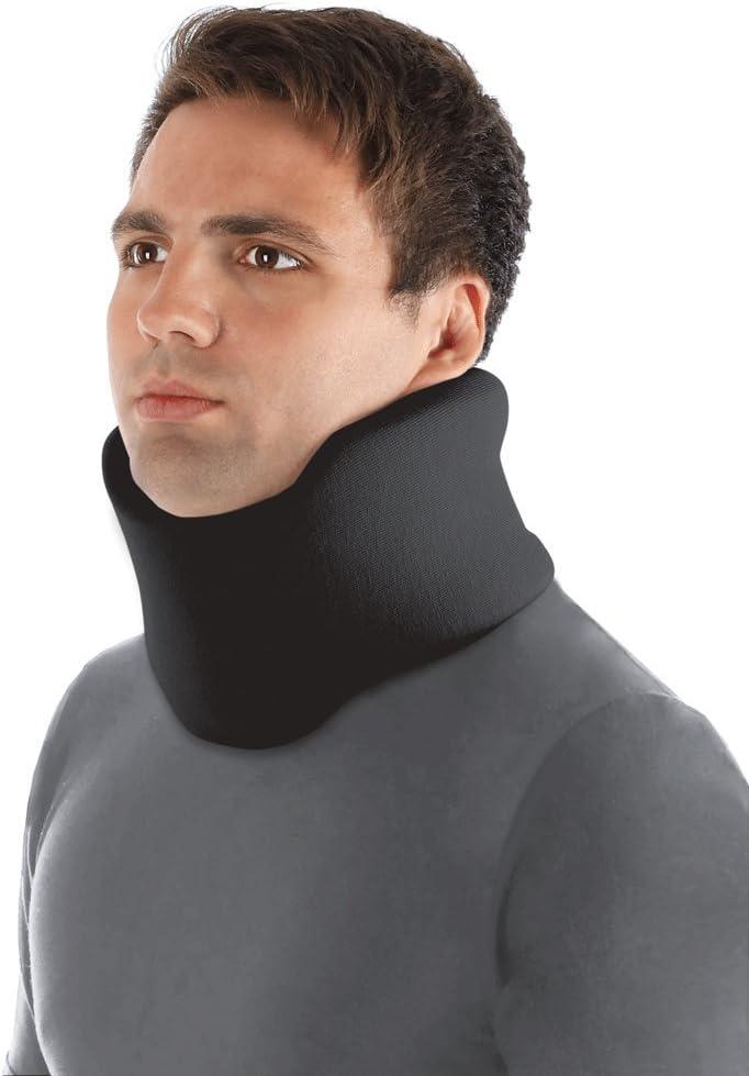 Collarín cervical ortopédico blando; soporte para el cuello, Alivio del Dolor y la Presión en la Columna Vertebral; para vértebras cervicales; 100% algodón Large Negro