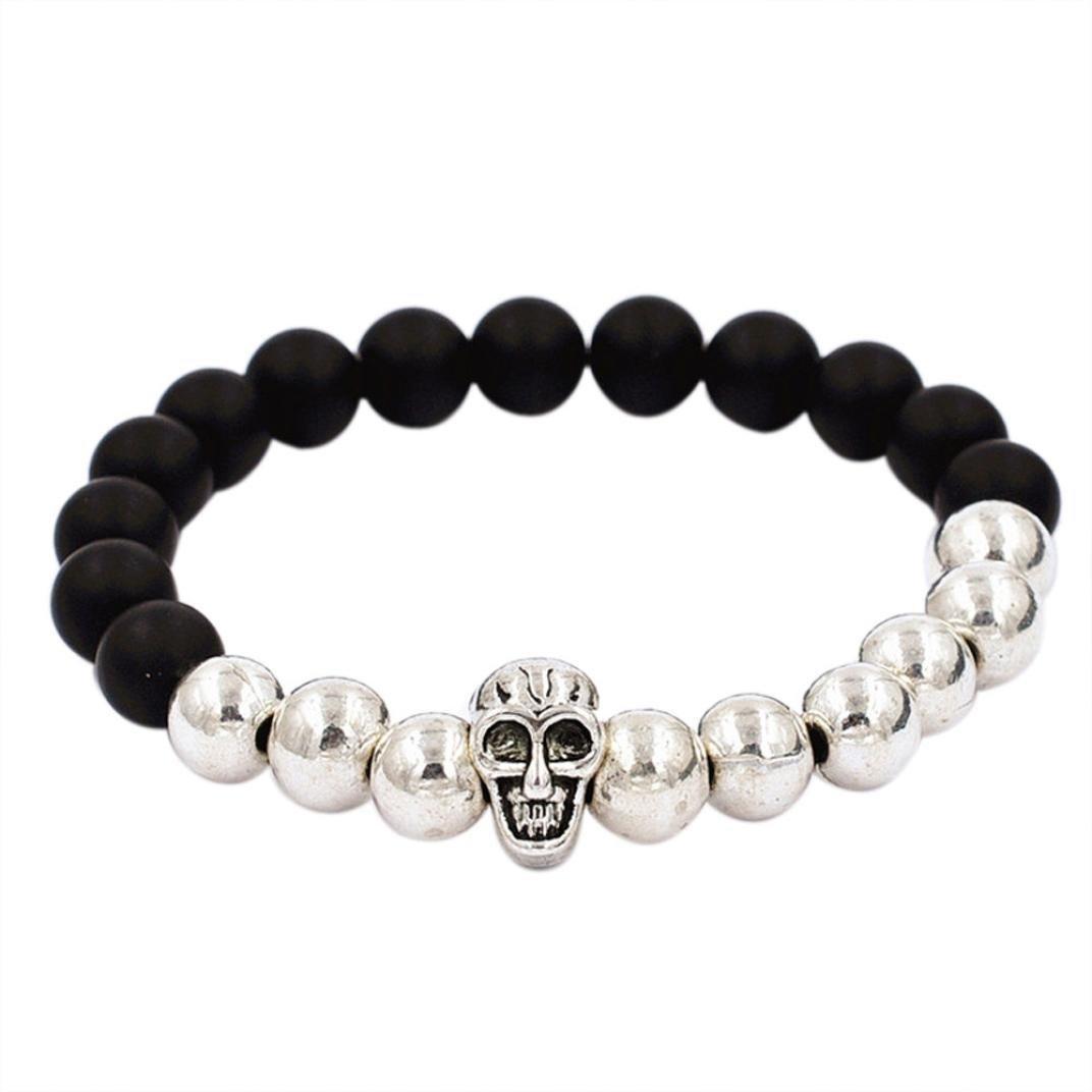 DENER Alloy agate skull beads bracelet Elastic Charm Bangle Bracelets