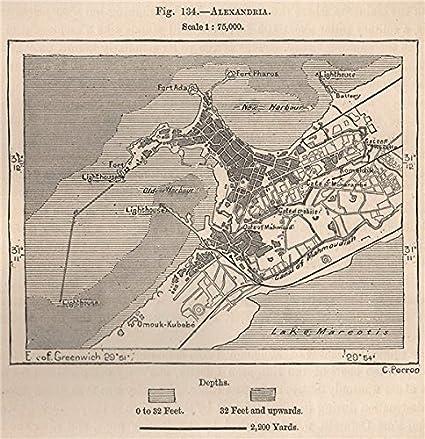 Amazon Com Alexandria Egypt 1885 Old Map Antique Map