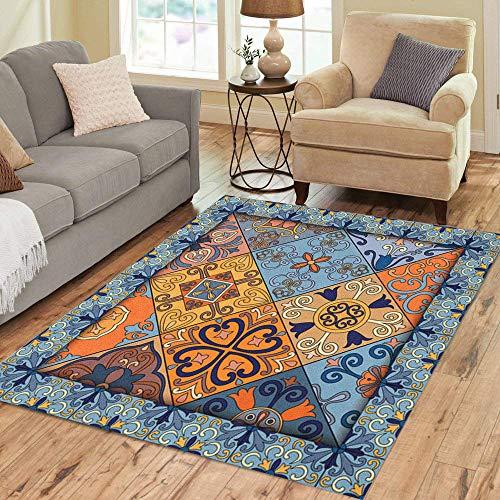 (Pinbeam Area Rug Colorful Portuguese Tiles in Talavera Azulejo Moroccan Mexican Home Decor Floor Rug 5' x 7' Carpet)