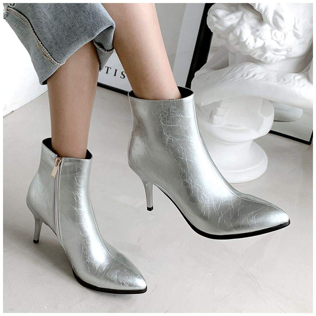 Women Leather Boots Ankle,Frunalte Buckle High Low Heel Booties Large Size Side Zipper Casual Shoes Silver by Frunalte Women Shoes