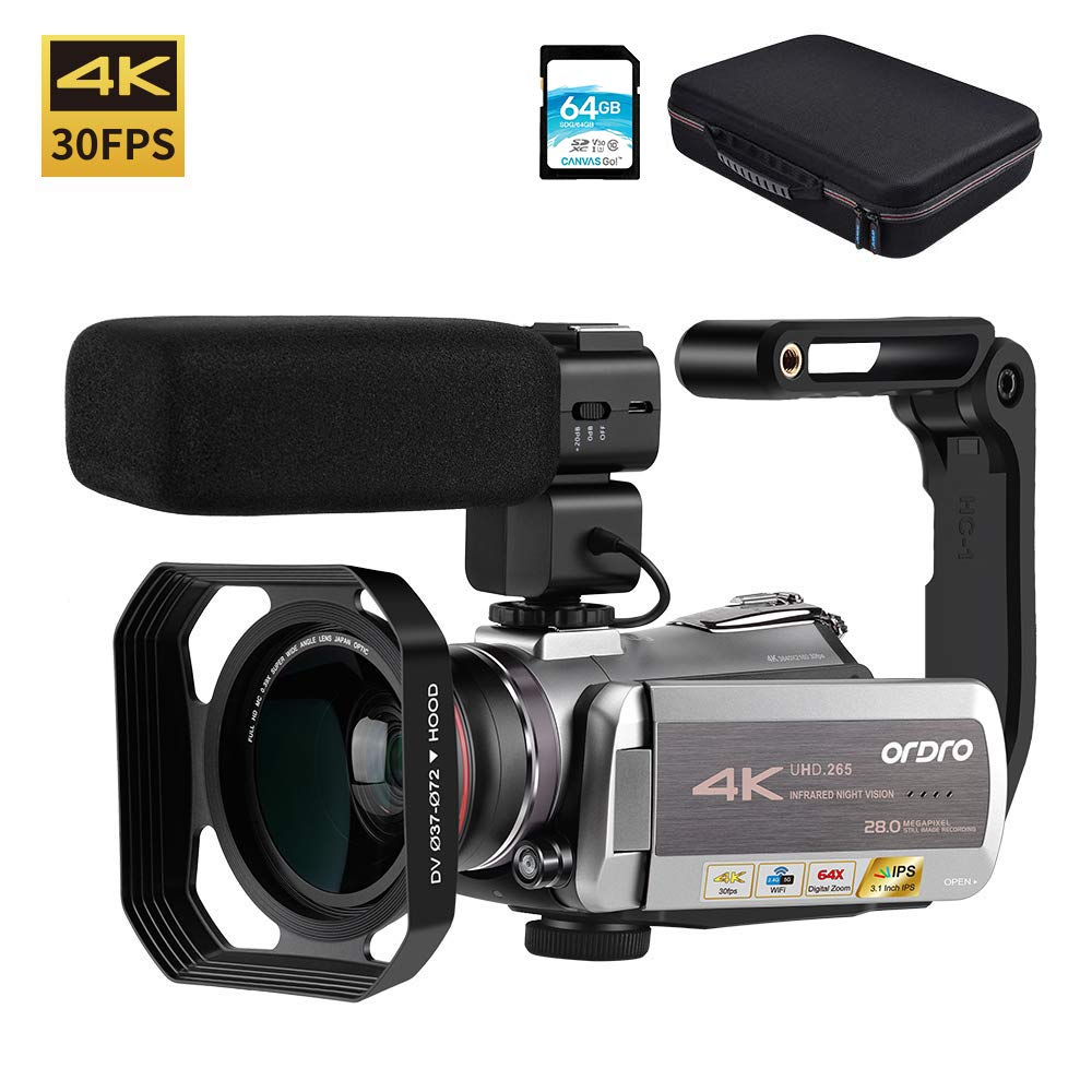 Video Camera 4K Camcorder ORDRO Real 4K Ultra HD 30FPS Digital Video Camera 48MP WiFi Recorder IR Night Vision 3.1'' IPS Touch Screen with Stereo Microphone, Wide Angle Lens and Camera Holder by ORDRO