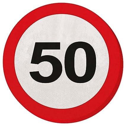 Toalla de papel para fiesta Servilletas 50 cumpleaños señal de tráfico 33 x 33 cm Servilletas