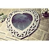 Specchio da parete Decorazione gioco Gel decorazione da parete a forma di cuore Shabby Vintage Grigio D42cm _ jjc13564