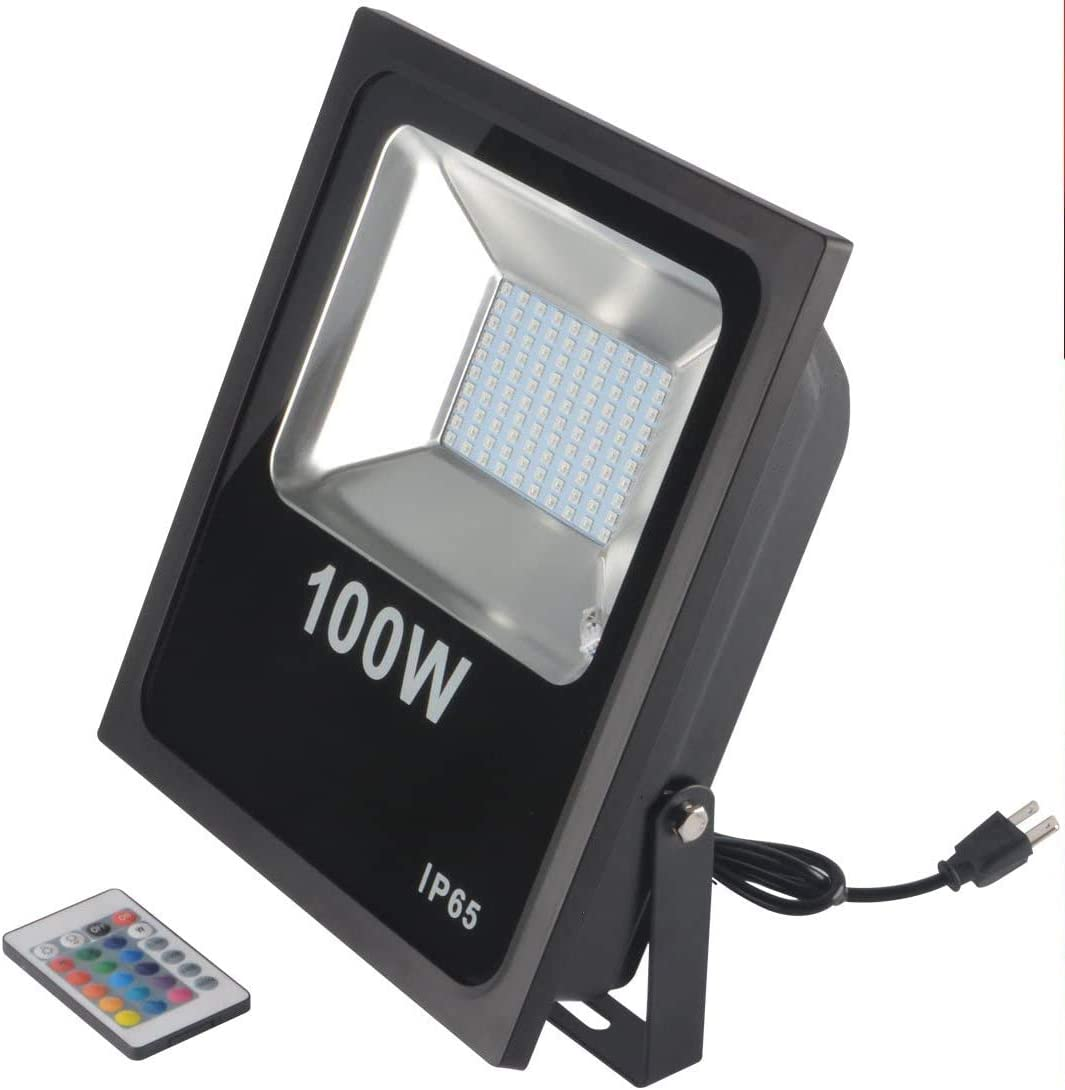 RSN LED Flood Light 100W 5050 RGB Multi Color Changing IP65 Waterproof with US-Plug for Garden Home Yard Hotel Pathways (100W RGB)