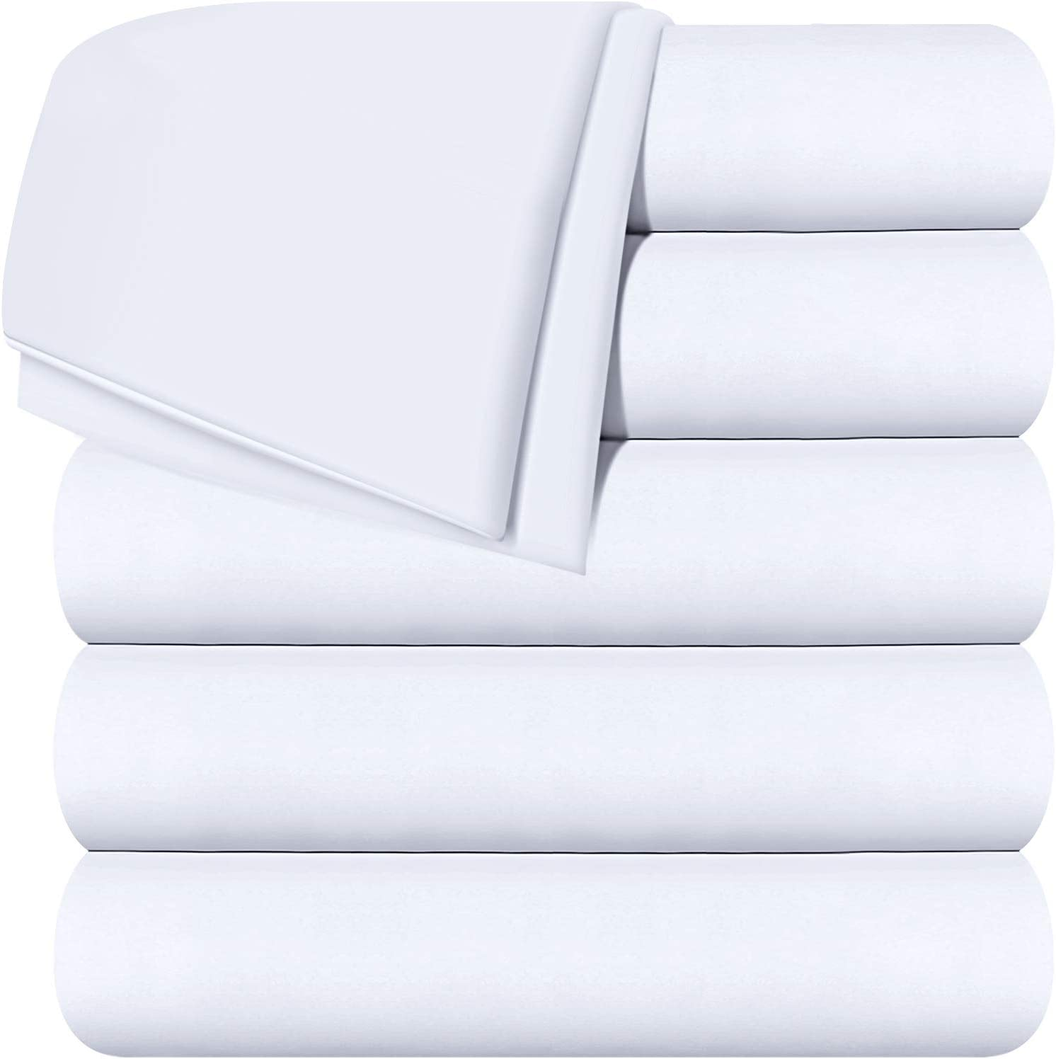 Utopia Bedding Flat Sheets - Pack of 6 - Soft Brushed Microfiber Fabric - Shrinkage & Fade Resistant Top Sheets - Easy Care (Twin, White): Home & Kitchen