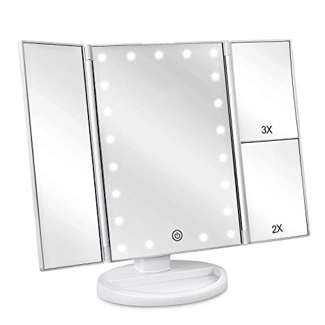 Amazoncom Deweisn Tri Fold Lighted Vanity Makeup Mirror With 21