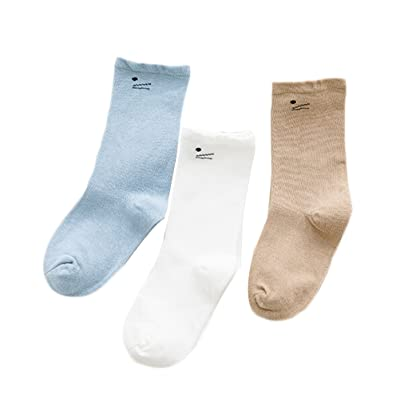 3 Pairs Baby Cartoon Cotton Warm Knee High Socks Striped Stockings Tube Socks