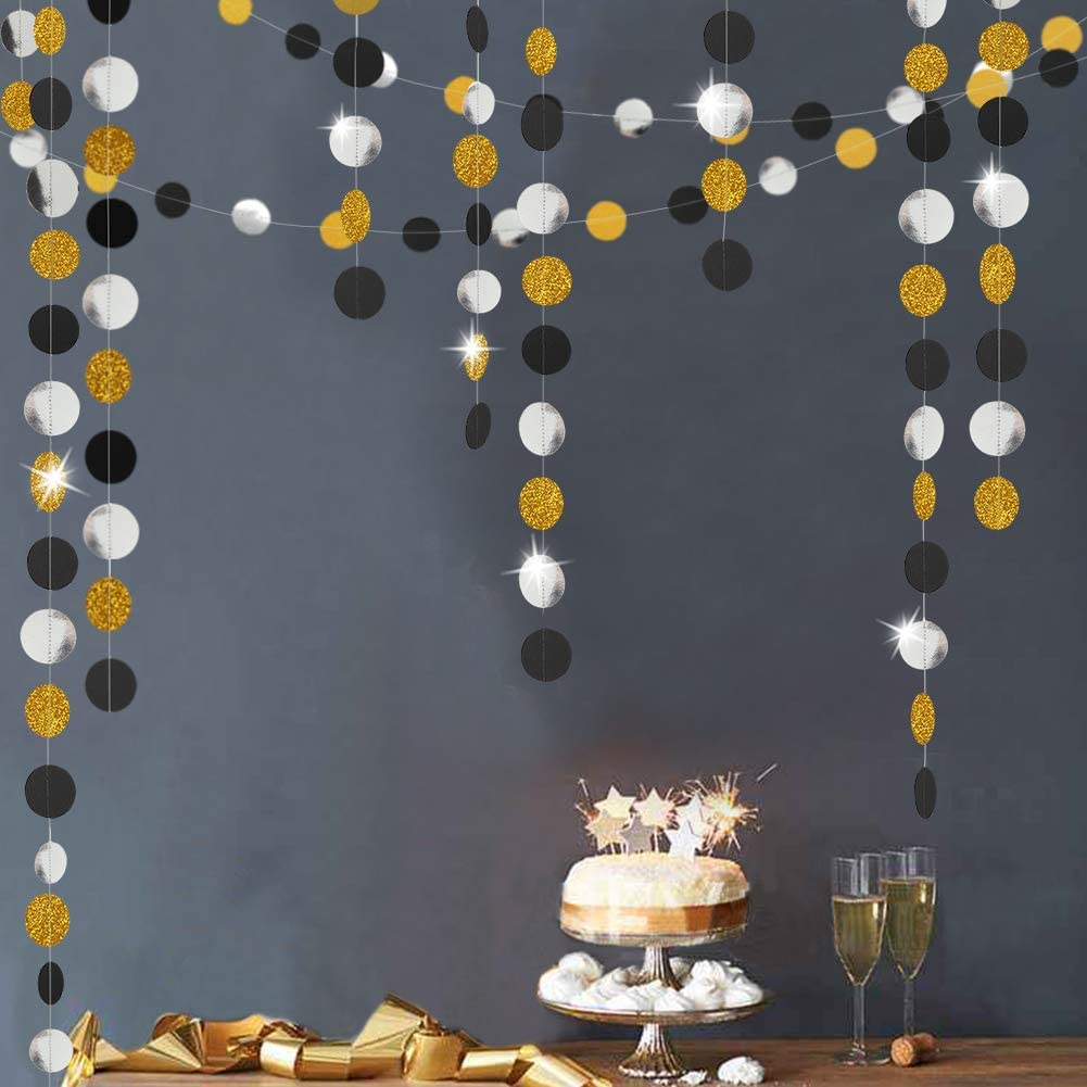Decor365 Gold Back Circle Dots Garland Streamers Party Decorations Glitter Black Hanging Bunting Banner Backdrop Decoration Birthday/Wedding/New Year/Gruaduation
