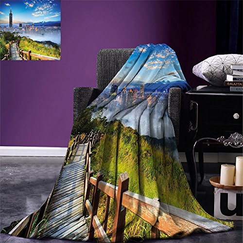 smallbeefly Scenery Digital Printing Blanket Beautiful Scenery of a Cityscape Cosmopolitan Life and Nature with Bridge Print Summer Quilt Comforter ()