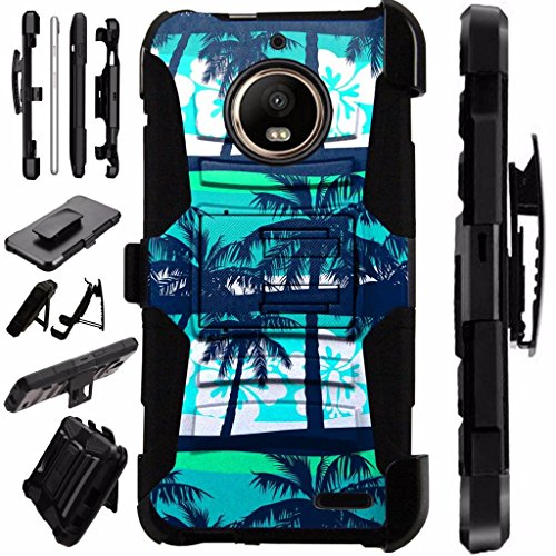 For Motorola Moto G6 Play | Motorola Moto G6 Forge Supra Case Armor Hybrid Silicone Cover Stand LuxGuard Holster (Palm Tree)