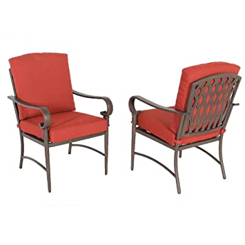 Hampton Bay Oak Cliff Stationary Metal Outdoor Dining Chair With Chili  Cushion (2 Pack