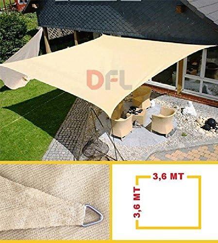 Keyman Vela Ombreggiante Quadra Quadrata 3,6 x 3,6 mt Beige Sabbia Telo Ombra Quadrato