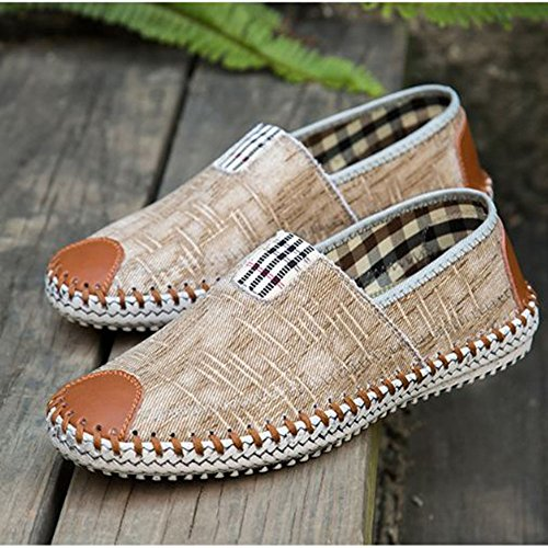 Sports d'été Hommes Occasionnels Peas Shoes Canvas Flats Kaki yamPW