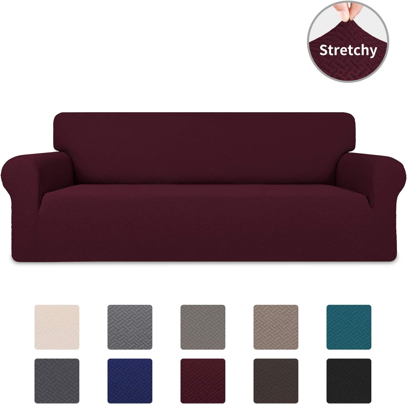 Easy-Going Stretch Jacquard Couch Cover, 1-Piece Soft Sofa Cover, Sofa Slipcover with Anti-Slip Foams, Washable Furniture Protector for Kids, Dogs, Cats (Sofa, Wine)