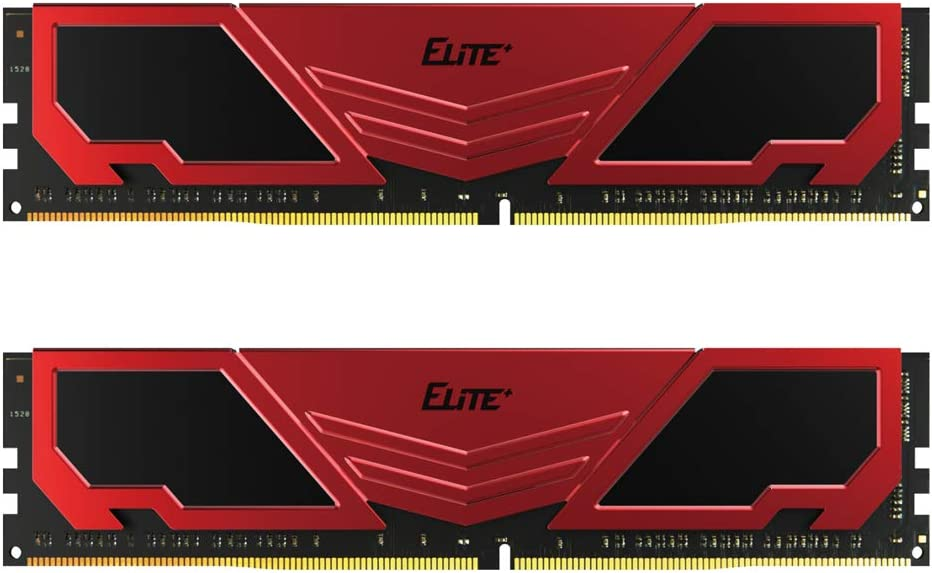 TEAMGROUP Elite Plus DDR4 8GB Kit (2x4GB) 2400MHz PC4-19200 CL16 Unbuffered Non-ECC 1.2V U-DIMM 288 Pin PC Computer Desktop Memory Module Ram Upgrade - Red & Black - TPRD48G2400HC16DC01