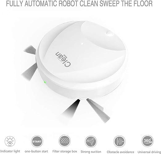 Hankyky Aspiradoras Robóticas Inteligentes, Robot de Barrido Máquina de Limpieza Automática de Carga USB Bajo Ruido Lento (succión Blanca y Barrido Tres en uno): Amazon.es: Hogar
