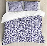 Navy Blue Duvet Cover Set Queen Size by Ambesonne, Ships Anchors Life Buoys Sailor Knots Love Marine Illustration Monochrome, Decorative 3 Piece Bedding Set with 2 Pillow Shams, Navy Blue White