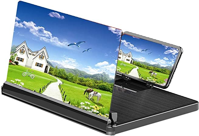 HHGO Lupa de Pantalla de Smartphone 3D, Amplificador de teléfono Celular para Tableta, Soporte para teléfono móvil, Accesorios proyector, Video película Zoom (Color : Black): Amazon.es: Hogar