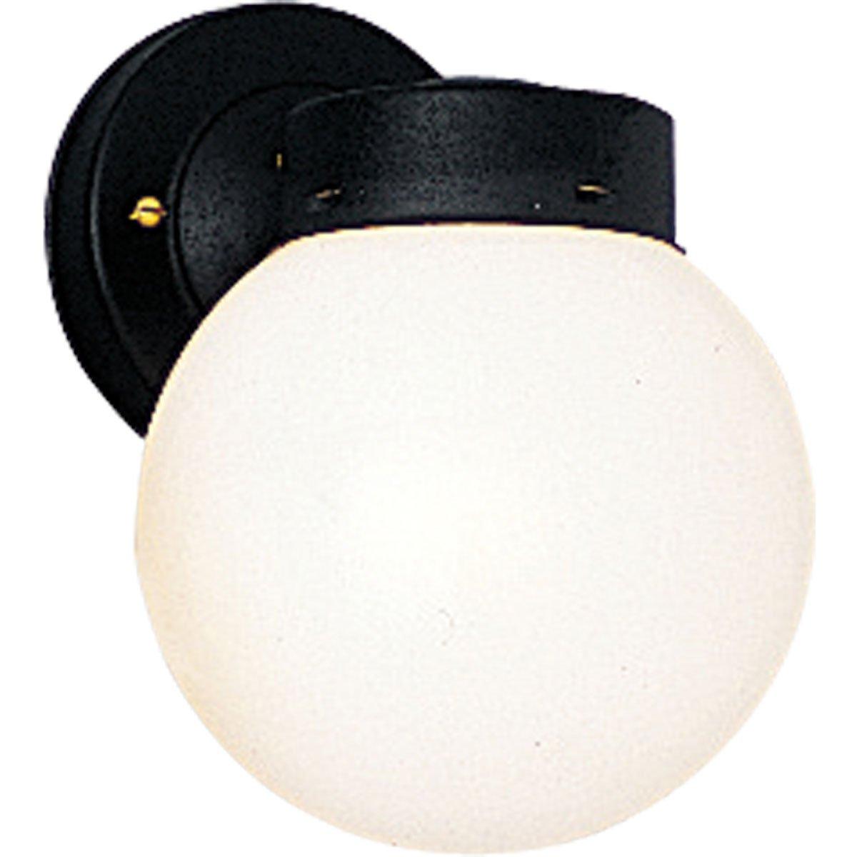 Progress Lighting P5604-31 Powder-Coated Finish White 6 Inch Glass Globe, Black