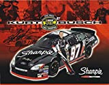 AUTOGRAPHED 2004 Kurt Busch #97 Sharpie Racing NEXTEL CUP SERIES CHAMPION (Roush Fenway Team) Signed Picture NASCAR 9X11 Inch Hero Card Photo with COA