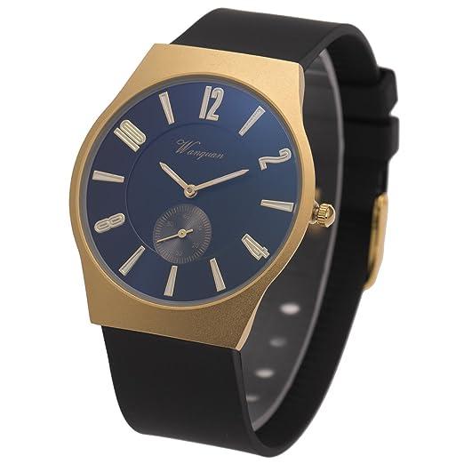 Reloj de pulsera para hombre minimalista sibosun cristal cuarzo Fanshion negro silicona analógico, correa de goma: Amazon.es: Relojes