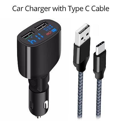 Amazon.com: Cargador de coche USB de 2 puertos con pantalla ...