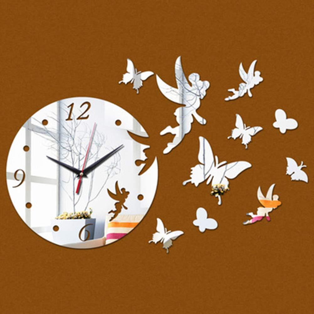 3D Angel Butterflies Wall Clock Mirror Effect Wall Decal Wall Sticker for Living Room Bedroom Kitchen Office Nursery Decoration Clocks