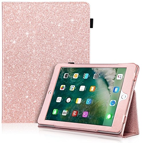 iPad 9.7 2018 / 2017 Case, iPad Air 2 Case, iPad Air Case, UrbanDrama Sparkly Glitter PU Leather Folio Stand Smart Cover Protective Case for New iPad 9.7 Inch 2017 / iPad Air 1 / 2, Rose Gold
