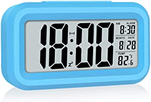 Kids Alarm Clock, Rscolila Easy Read Desk Clock with Date, Temperature, Backlight, Snooze Small Table Digital Alarm Clock for Kids,Bedroom, Office, Kitchen