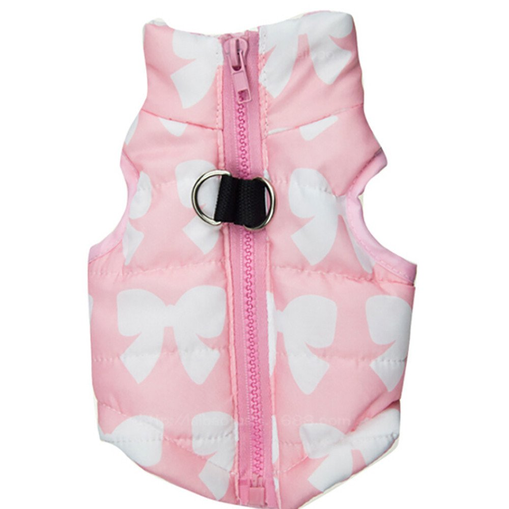 Axchongery Dog Jacket, Print Pet Winter Coat Costume Warm Doggy Vest for Small Dogs Girl (Pink, XXS)