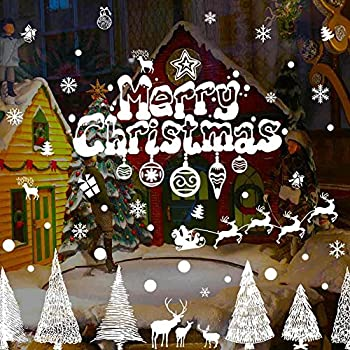 Merry christmas wall decals santa clause trees the reindeer sleigh gifts