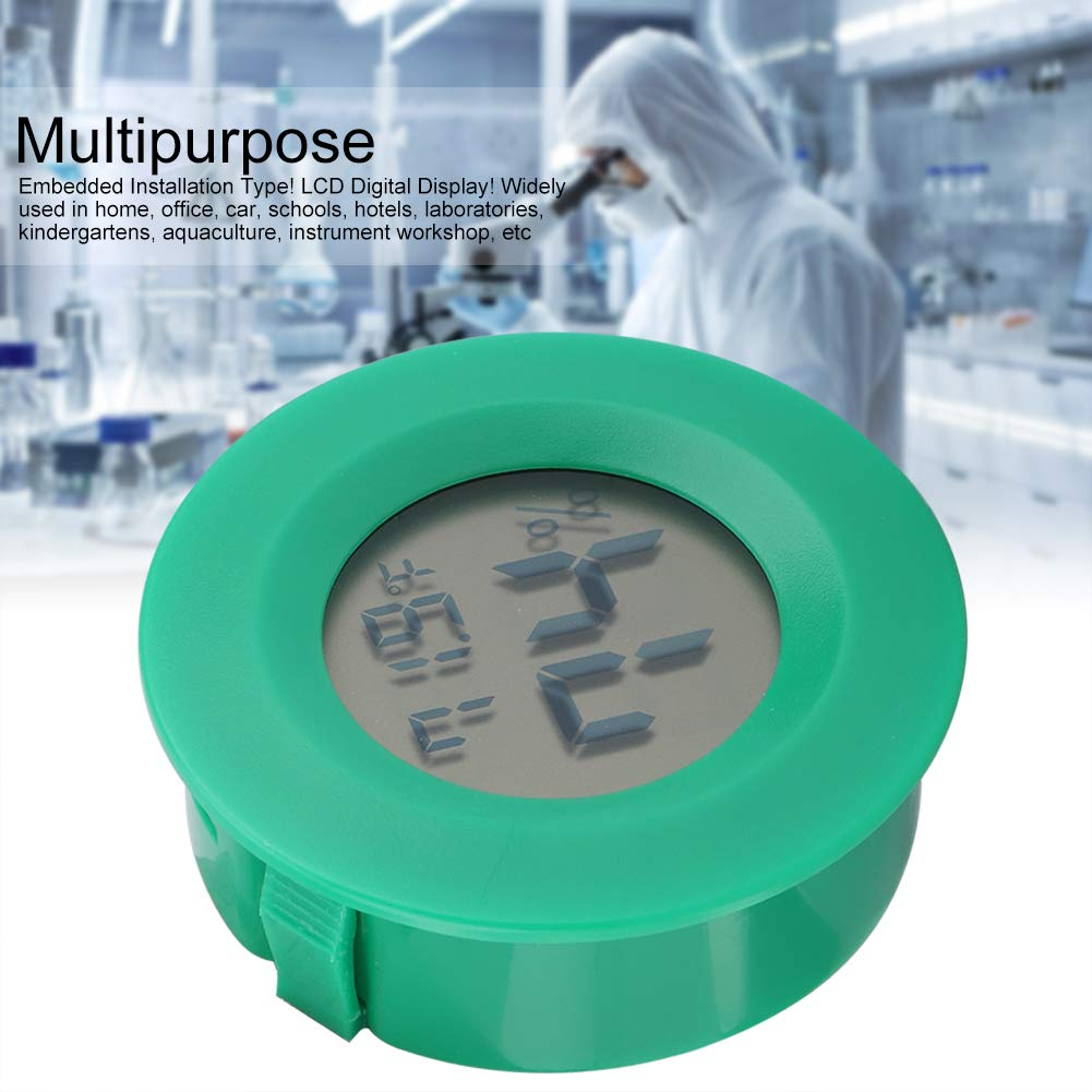 Mini Thermometer Round Shape Temperature Digital LCD Monitor Indoor Room Round Humidity Temperature Gauge for Humidors Home Greenhouse Babyroom Reptile Incubator