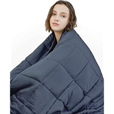 YnM Weighted Blanket (15 lbs, 60''x80'', Queen Size) | 2.0 Heavy Blanket | 100% Cotton Material with Glass Beads