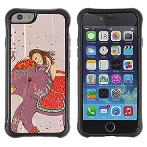 Híbridos estuche rígido plástico de protección con soporte para el Apple iPhone 6 (4.7) - drawing India girl art