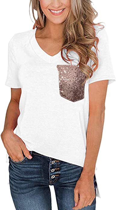 Women Leopard Print Sequins Spliced T-Shirt Contrast Color Slim Tee Tops O-Neck Short Sleeve Casual T-Shirt Blouse