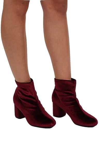 a053d3073f PILOT® Women's Velvet Block Heel Ankle Boots in Wine Red Shoe 5 ...