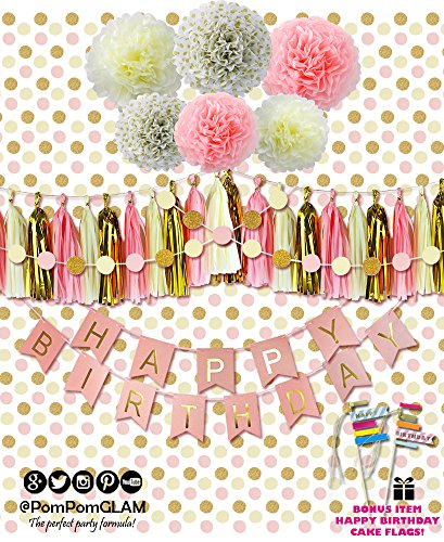 Complete Pink Gold Party Decorations Kit with BONUS Happy Birthday Cake Topper Flags By PomPomGLAM (Happy Birthday Emoji Art)